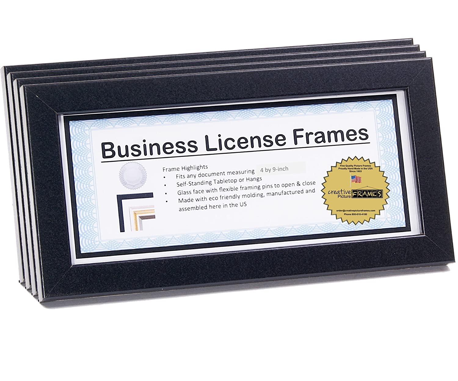3.5 by 8.5 inch Professional Black Business License Certificate Frame, Self Standing with Wall Hanger Creative Picture Frames business4x9bk