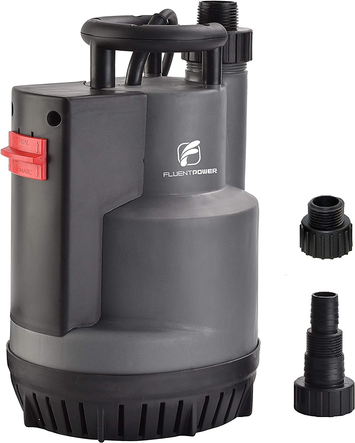 "FLUENTPOWER 1/2 HP Submersible Pump, 2200 GPH Portable Electric Water Removal Pump with Switchable Auto/Manual Modes for Water Transfer, with 3/4"" Garden Hose Adapter and NPT 1"" Hose Connection"