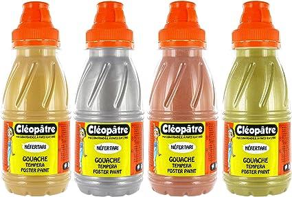 Cleopatre - PGN250x4M - Pack de 4 frascos de pintura guache, metálica, 250 ml: Amazon.es: Oficina y papelería