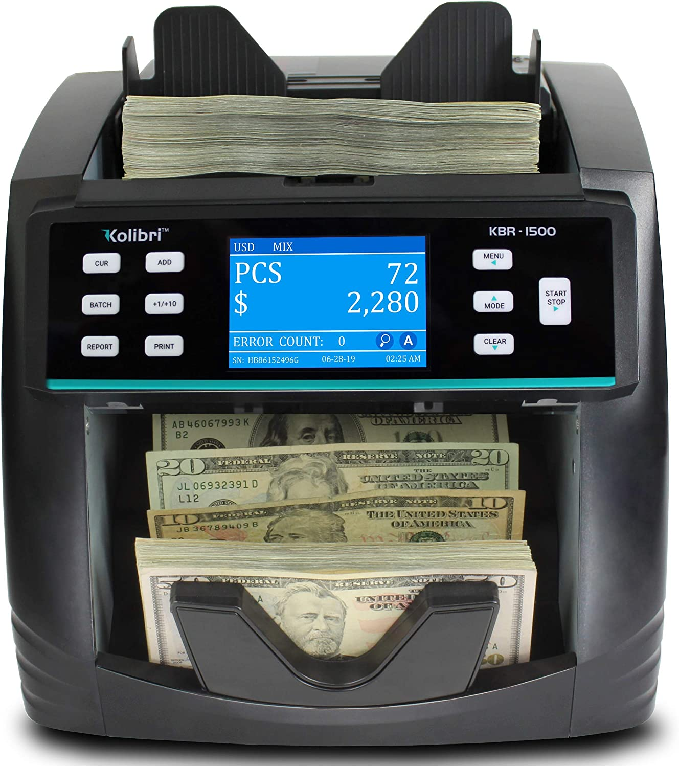 KBR-1500 Bank Grade Mixed Denomination Bill Money Value Counter with Advanced UV/MG/MT/IR/2CIS Counterfeit Detection, Multi-Currency (USD, CAD, MXN), Sorting and Receipt Printing Function