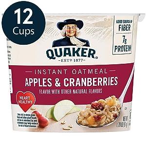 Quaker Instant Oatmeal Express Cups, Apples & Cranberries, 12 Count