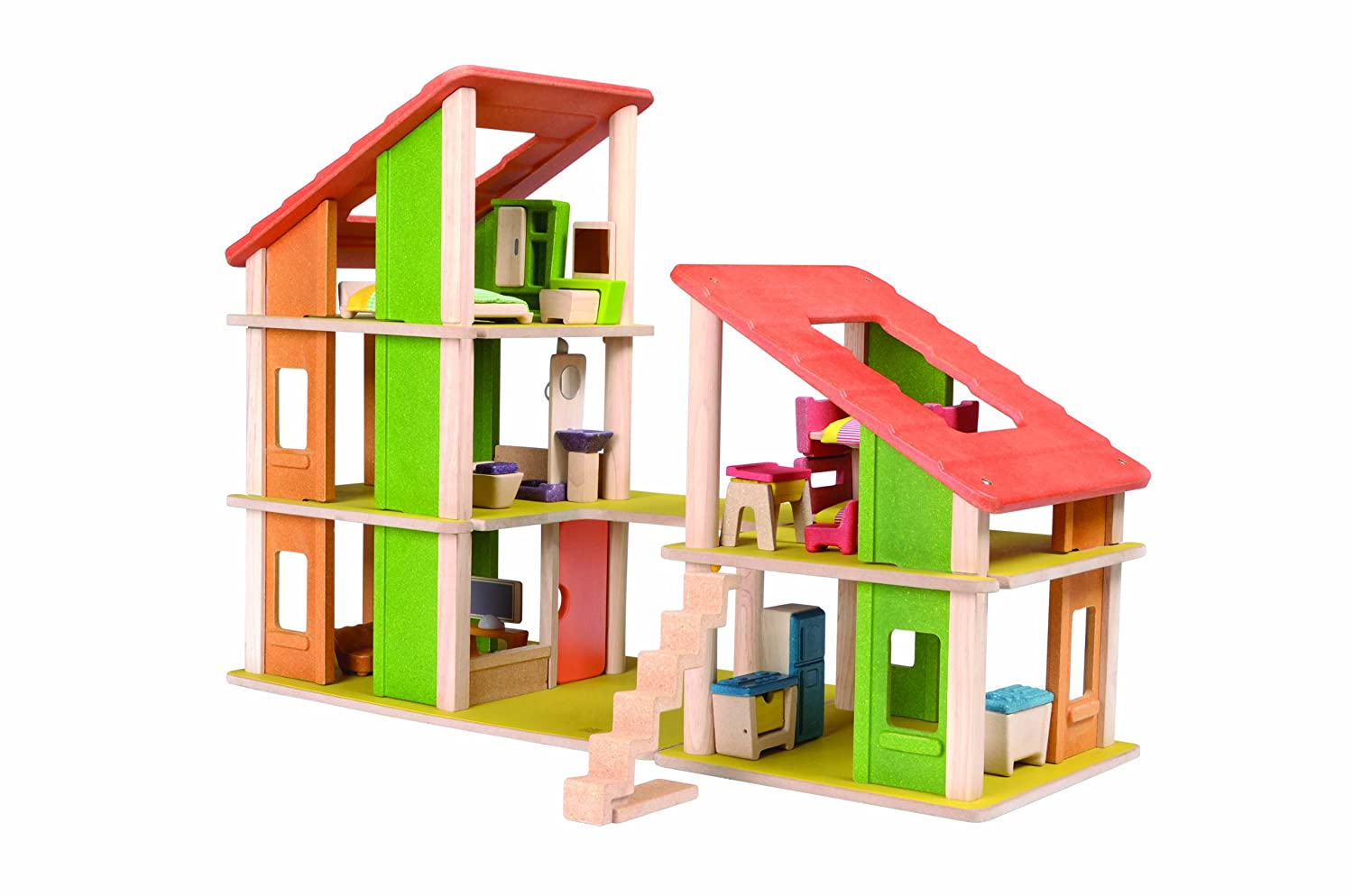 plan toys chalet dollhouse with furniture furniture  amazon canada -