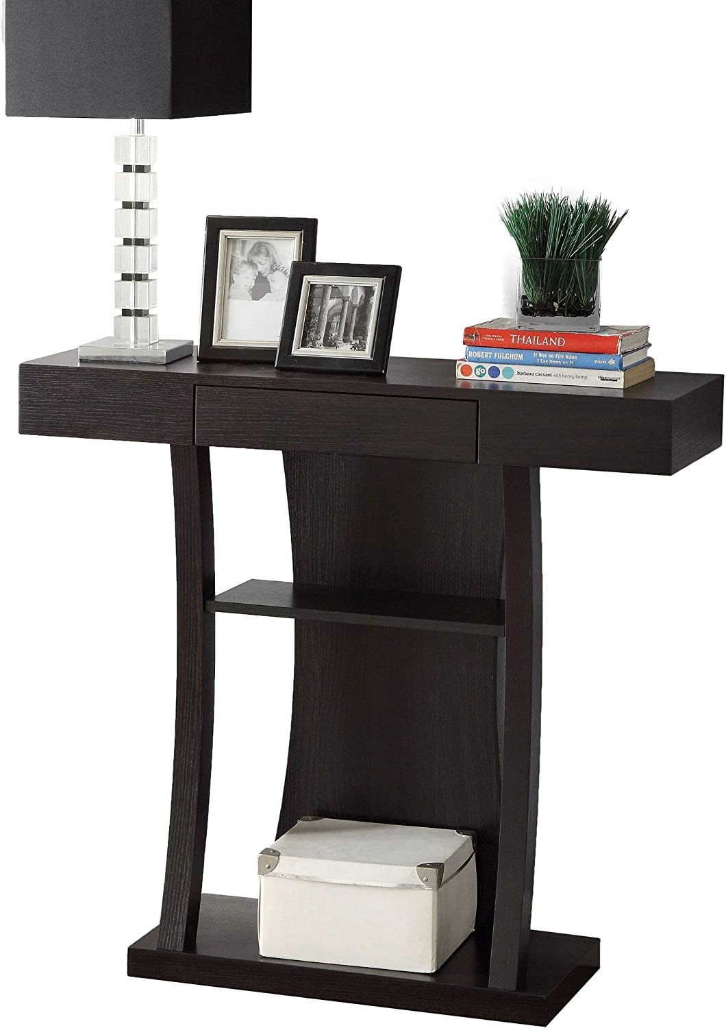 Coaster Home Furnishings T-Shaped Console Table with 2 Shelves Cappuccino