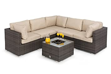 42e0e9d8b813 Maze Rattan Garden Furniture Porto Corner Sofa Set with Luxury Inset lce  Bucket Coffee Table in