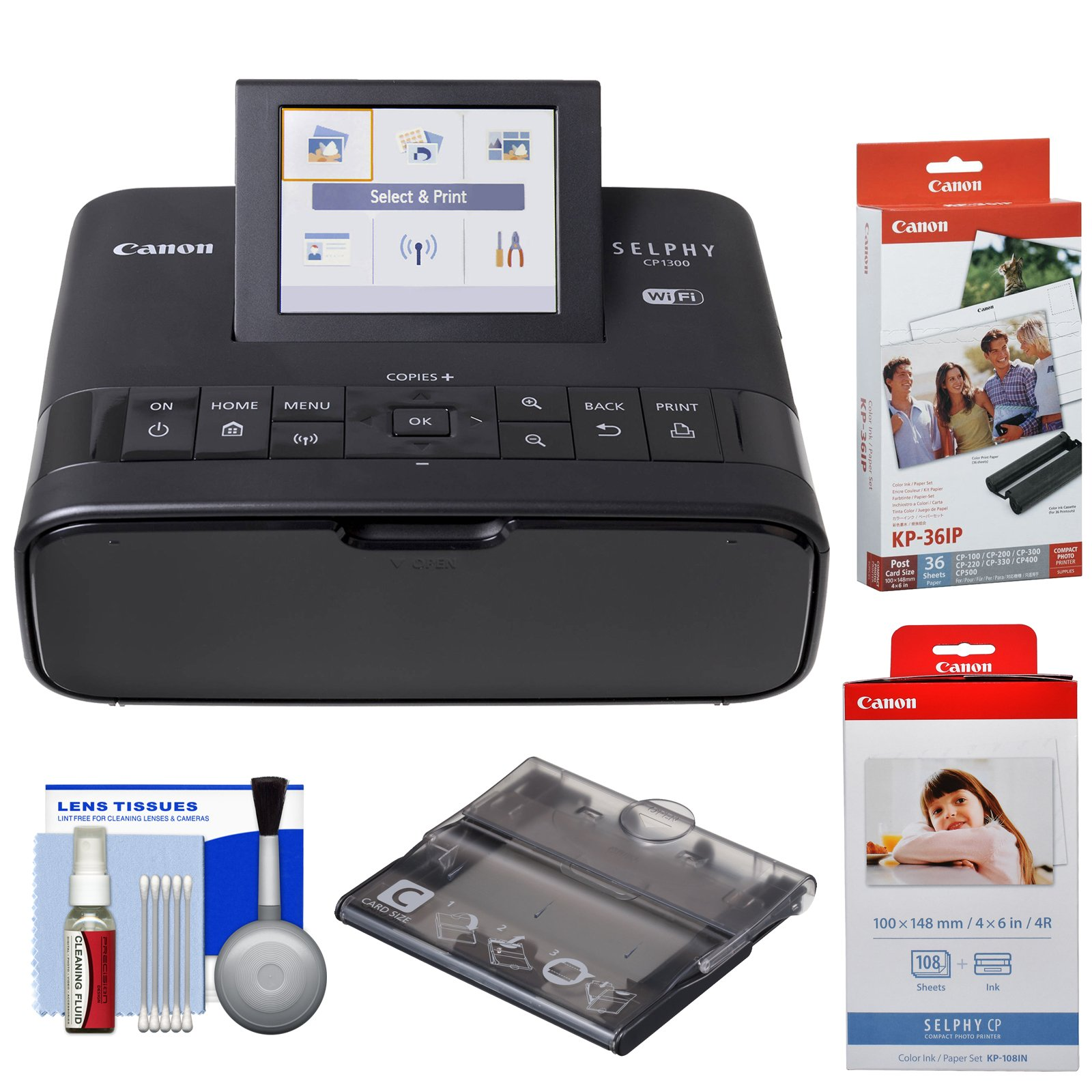 Canon SELPHY CP1300 Wi-Fi Wireless Compact Photo Printer (Black) KP-36IP & KP-108IN Color Ink Paper Set + PCC-CP400 Card Size Cassette + Kit