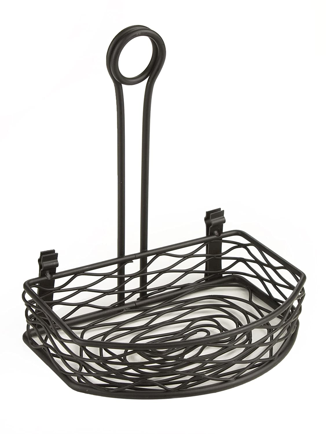 Displays2go Wrought Iron Flat Side Birds Nest Design Tabletop Condiment Stand with Menu Clip, Set of 10 CNDR8FBBK