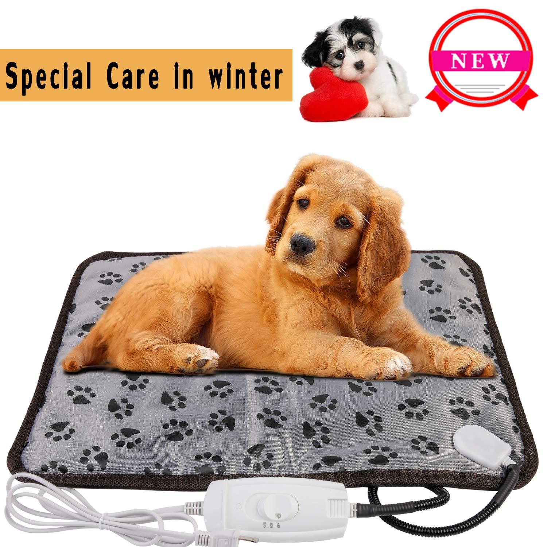 wangstar Pet Heating Pad Warm Pet Heat Pad Dogs Cats 20''x15'', Indoor Electric Heated Pet Mat Steel Chew Resistant Waterproof Small Animal Warm Mat (20''x15'', Rectangle Pet Heat Pad(Medium))