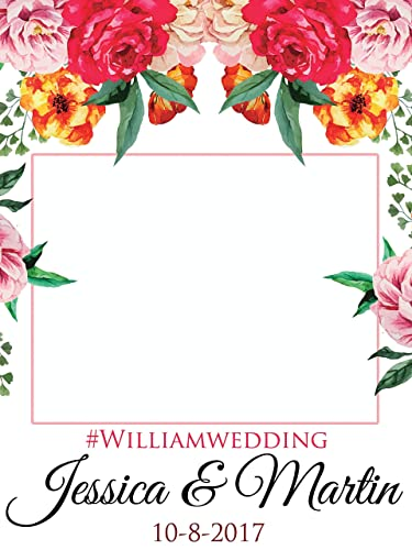 Custom Floral Wedding Photo Booth Frame - Sizes 36x24, 48x36