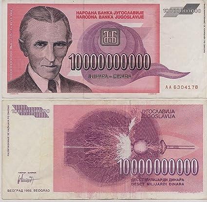 Amazon Com Scarce Nikola Tesla 10000000000 Dinara Ten Billion Dinar Obsolete Note Everything Else