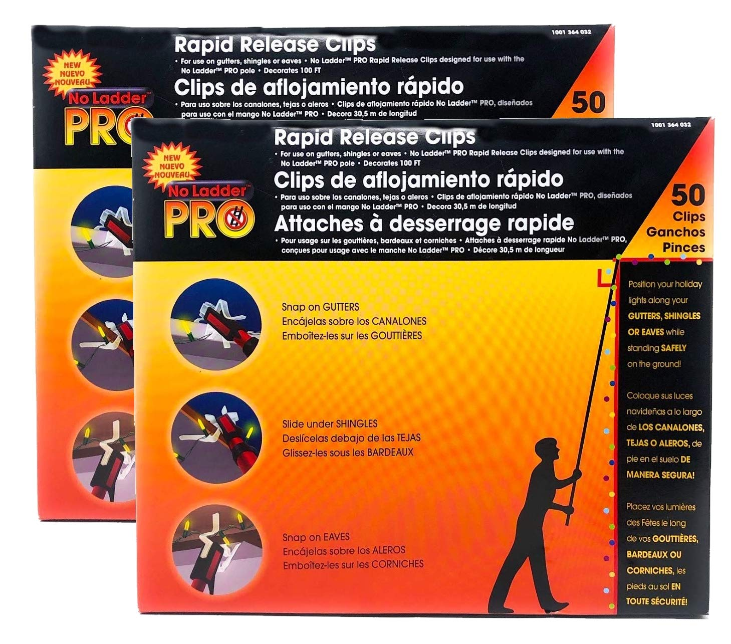 2 Packs of 50 Pro No Ladder Rapid Release Holiday Lights Gutter Clips by Pro Ladder