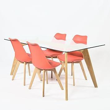 Charles Jacobs 1,6 m Esstisch mit vier rot Set Stühle Massivholz ...