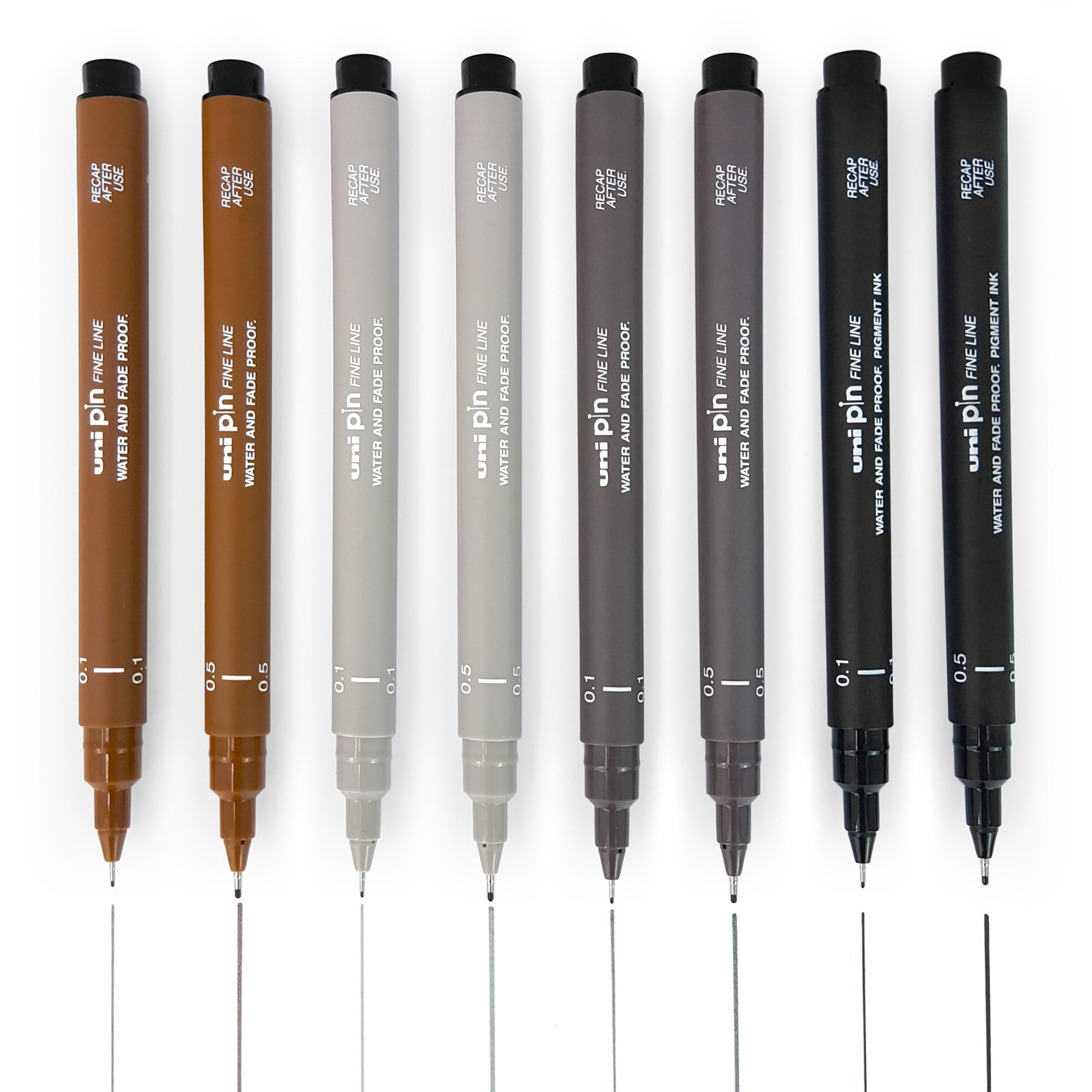 Uni Pin Fineliner Drawing Pen - Sketching Set of 8-0.1mm/0.5mm - Black, Dark Grey, Light Grey, and Sepia