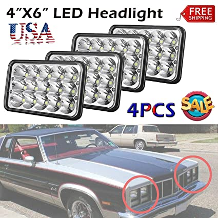 Com 4x6 Led Headlight Rectangle For Trucks Cars High And Low Beam 6000k White Super Bright 45w Oldsmobile Delta 88 H4651 H4652 H4656 H4666