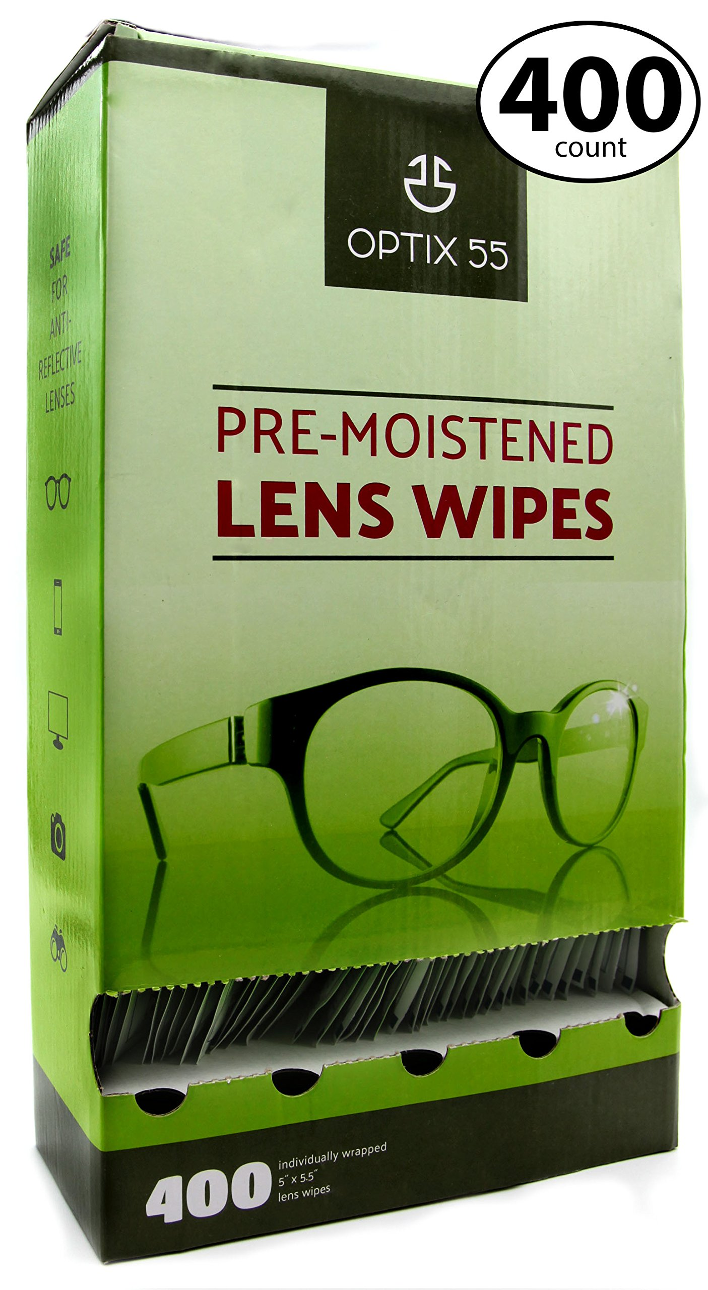 Pre-Moistened Lens Cleaning Wipes - 400 Cloths - Safely Cleans Glasses, Sunglasses,