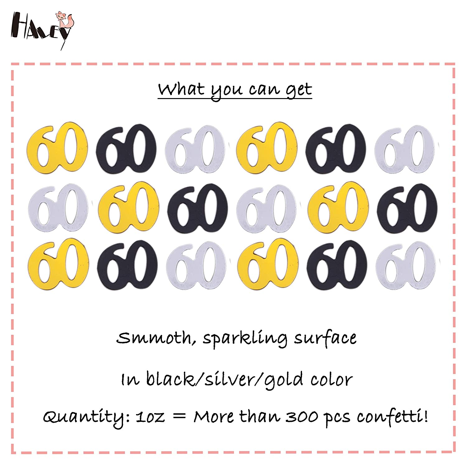 Haley Party 60th Birthday Decorations Anniversary 60 Confetti Metallic Foil For