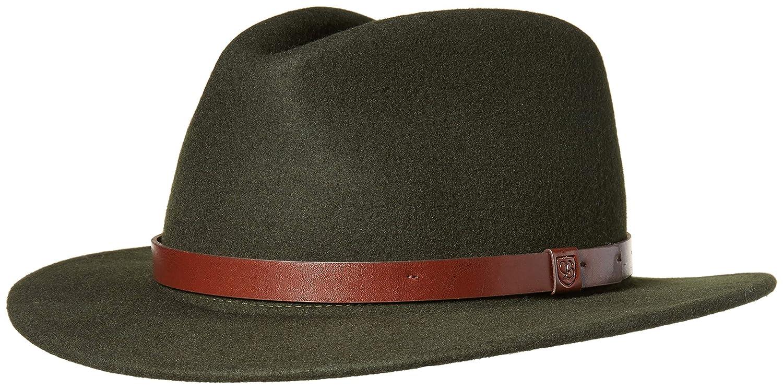c7f255c7183 Amazon.com  Brixton Men s Messer Medium Brim Felt Fedora Hat  Clothing