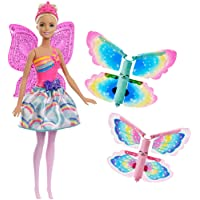 Barbie Dreamtopia poupée fée papillon blonde volante avec deux paires d'ailes clipsables, tenue multicolore, jouet pour enfant, FRB08