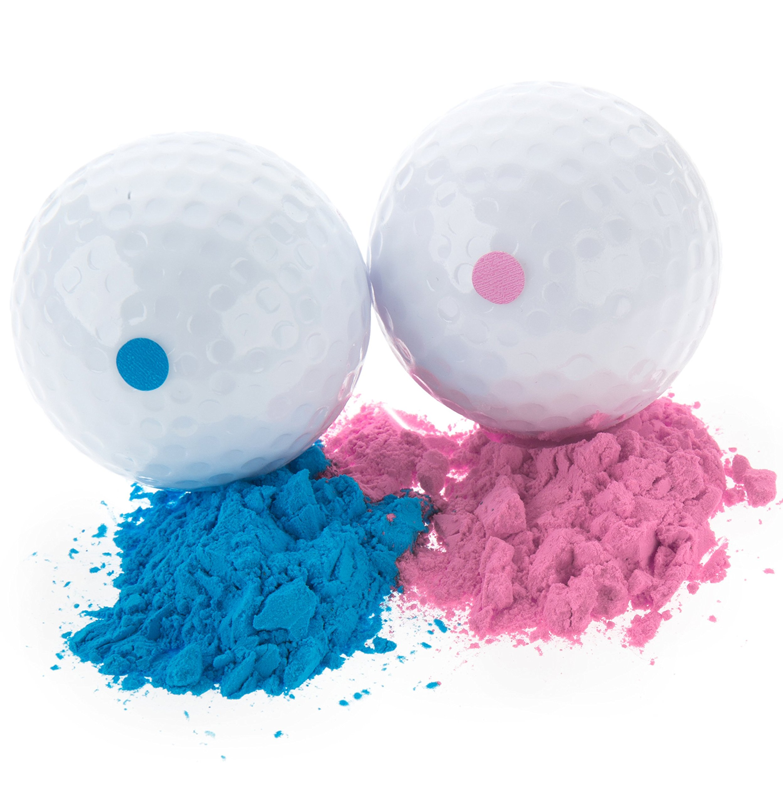 Baby Gender Reveal Exploding Golf Balls - Pink and Blue Set for Boy or Girl Sex Reveal Party (1 Pink Ball and 1 Blue Ball)