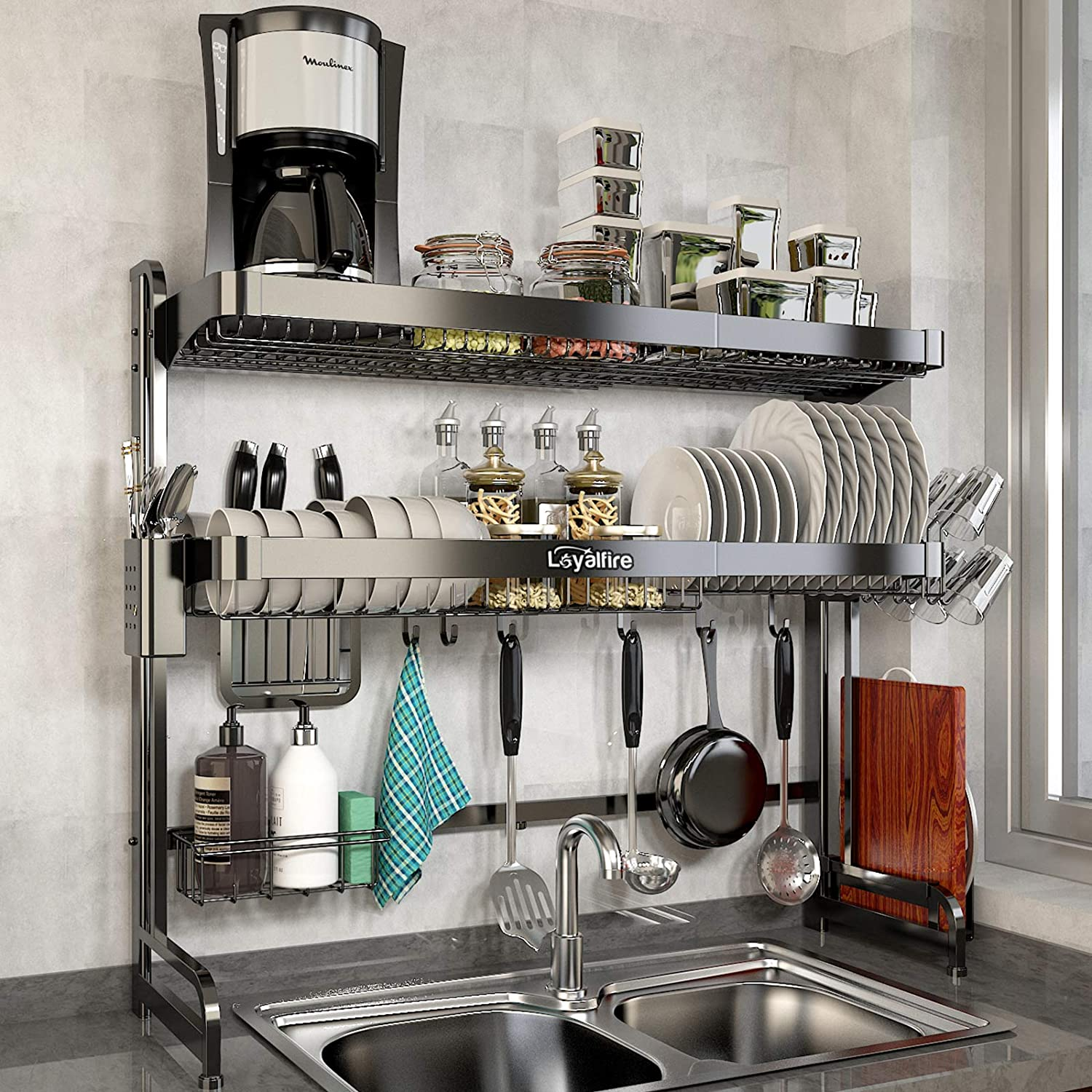 Over Sink Dish Drying Rack Loyalfire 2 Tier Full Stainless Steel Large Storage Adjustable Kitchen Dish Rack 24 41 37 6 Expandable Dish Drainer Shelf Rack With Utensil Holder Cup Hanging Set