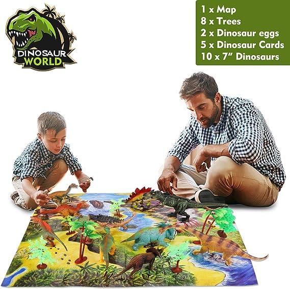 ARANEE Dinosaurios Juguetes Dinosaurio Educativo Juguete para Niños con árboles, Huevos de Dinosaurio, Tarjetas de Aprendizaje y tapete de Juego 26 PCS: Amazon.es: Juguetes y juegos