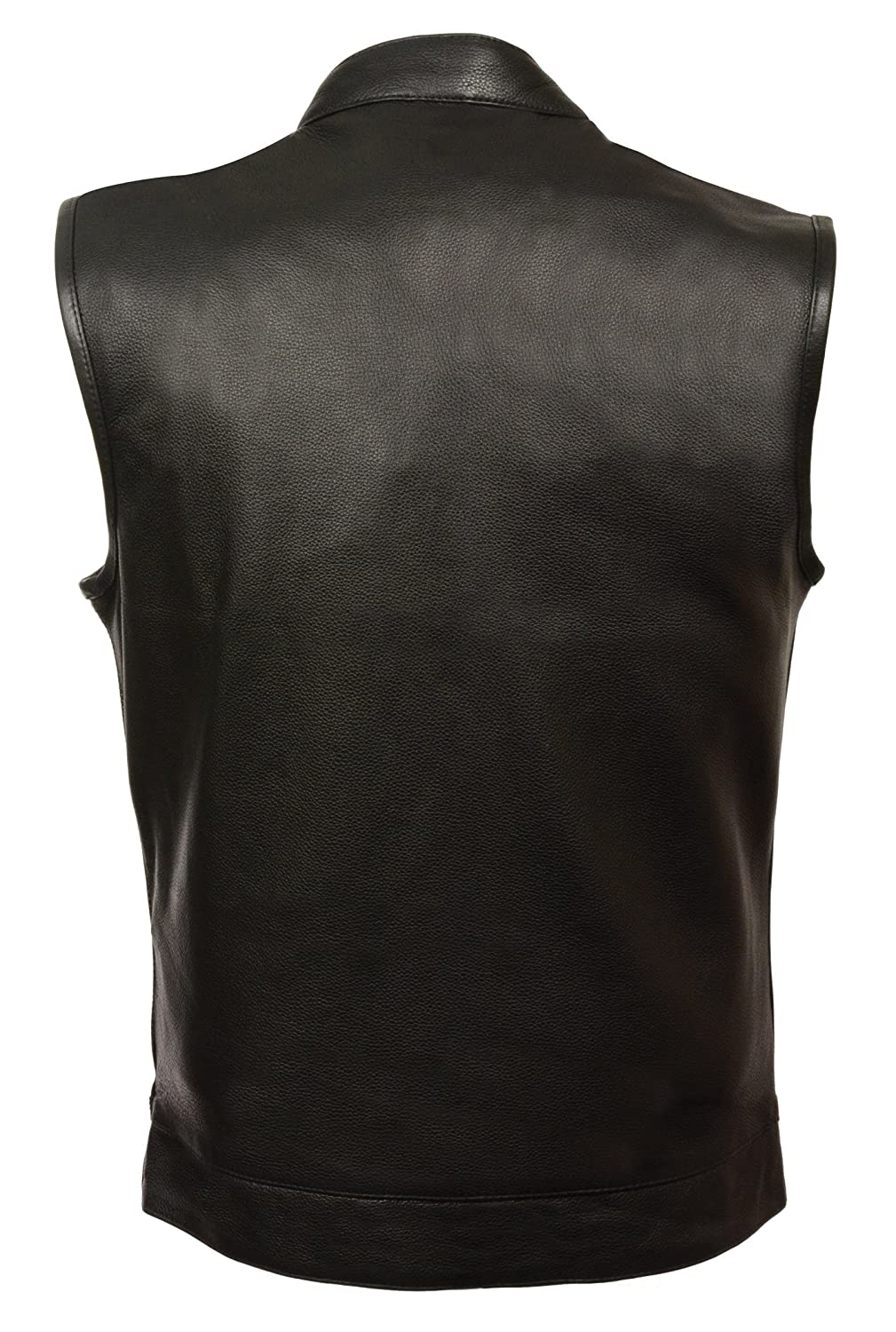 Men/'s Leather Vest w// Dual Inside Gun Pockets /& 1 Panel Back for Club Patches