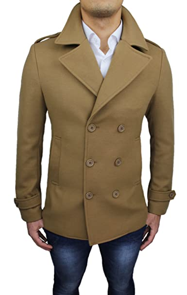 Cappotto Uomo Cammello Casual Elegante Doppiopetto Beige Slim Fit  Invernale  Amazon.it  Abbigliamento 501e2376c2ae