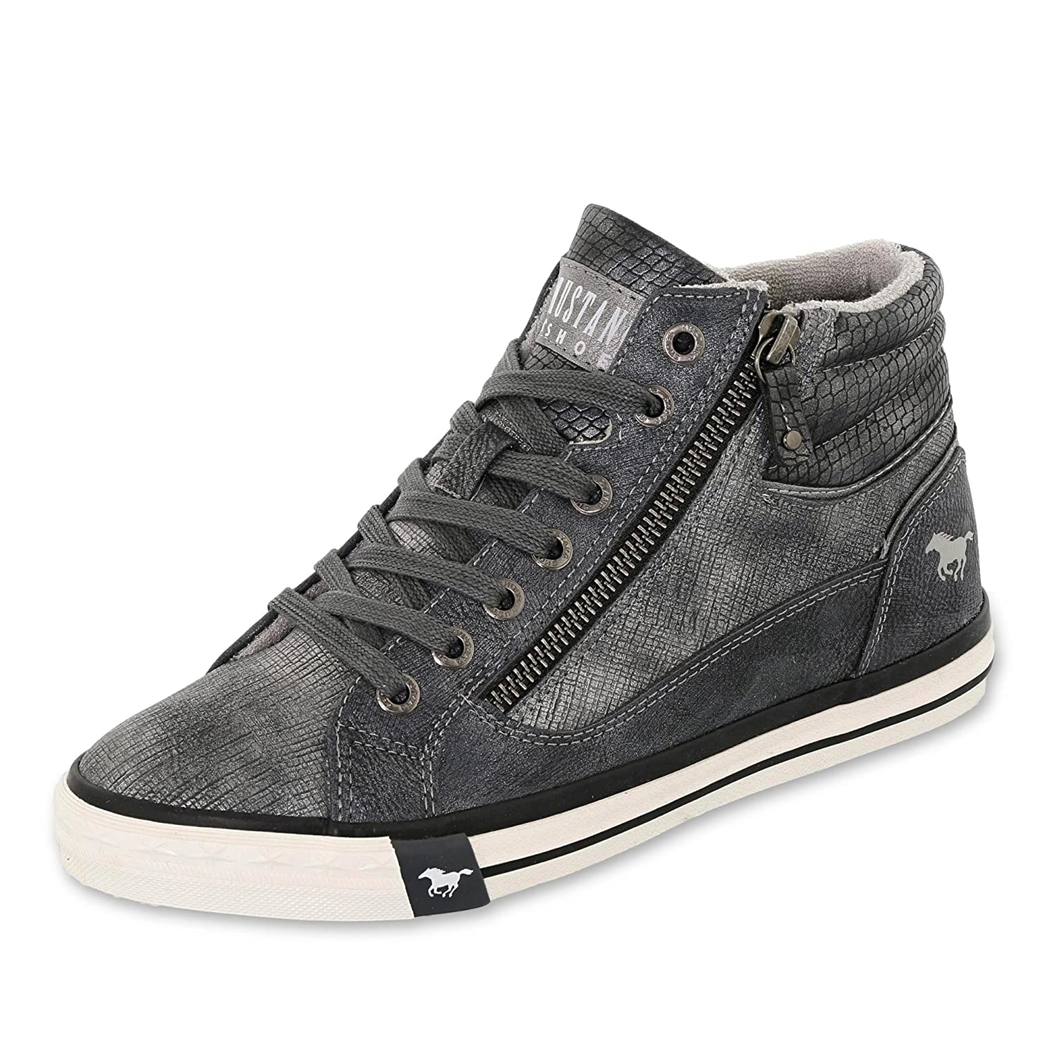 Mustang Damen High Top Turnschuhe Grau