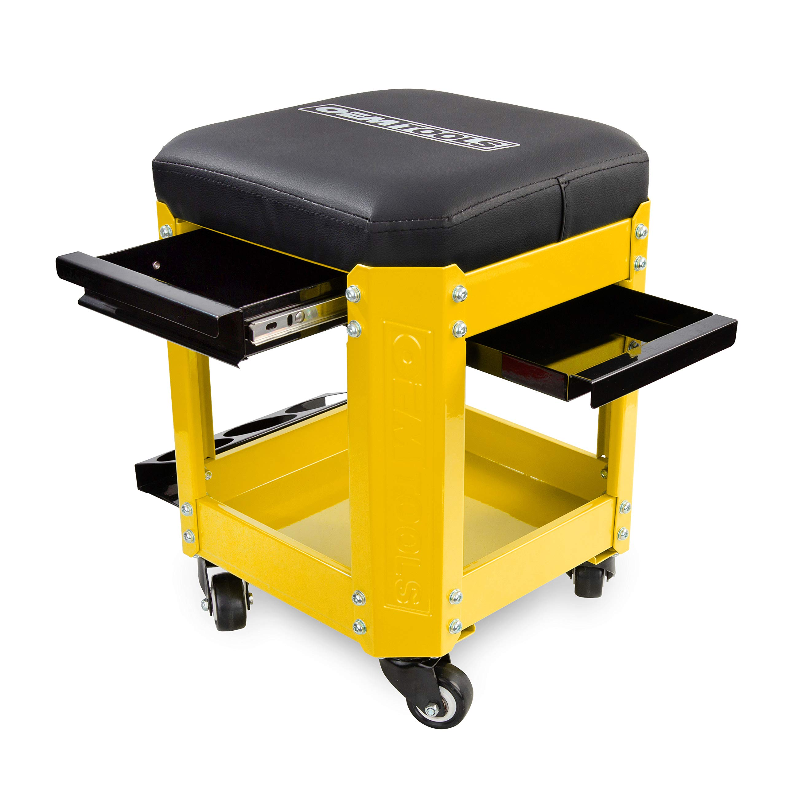 OEMTOOL 24999 Yellow Rolling Workshop Creeper Seat with 2 Tool Storage Drawers Under Seat Parts Storage Can Holders by OEMTOOLS