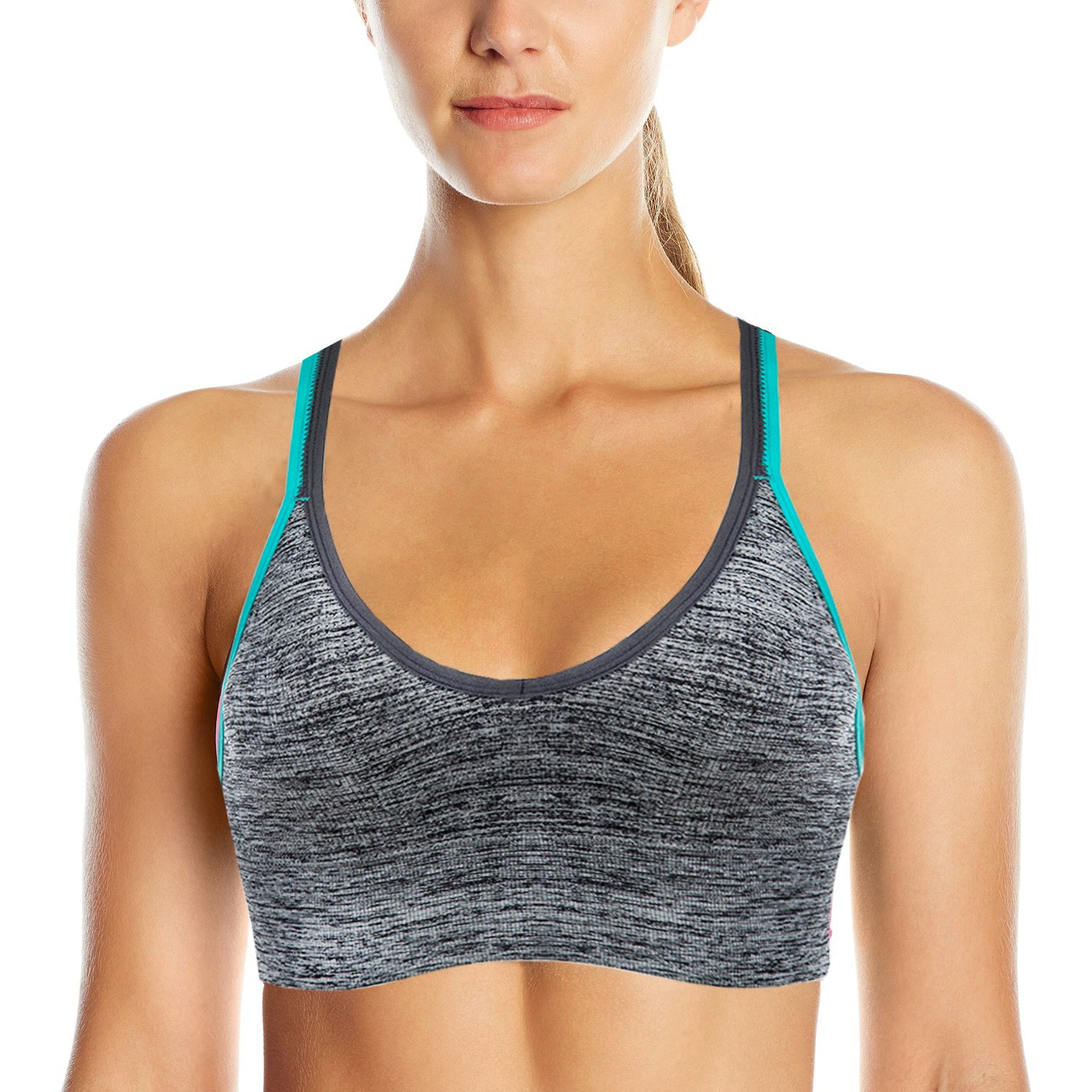 AKAMC Women's Removable Padded Sports Bras Medium Support Workout Yoga Bra 3 Pack by AKAMC (Image #2)