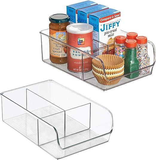 InterDesign Linus Organizador para la cocina juego de 2 cajas caja organizadora de pl/ástico antirrotura extragrande con 3 apartados transparente