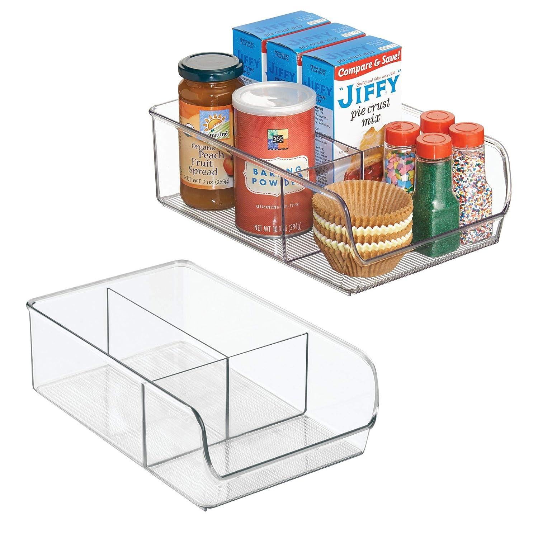 InterDesign Linus Organizer frigorifero, Contenitori in plastica extra large a 3 scomparti, Set da 2 box freezer per alimenti, trasparente 57330M2
