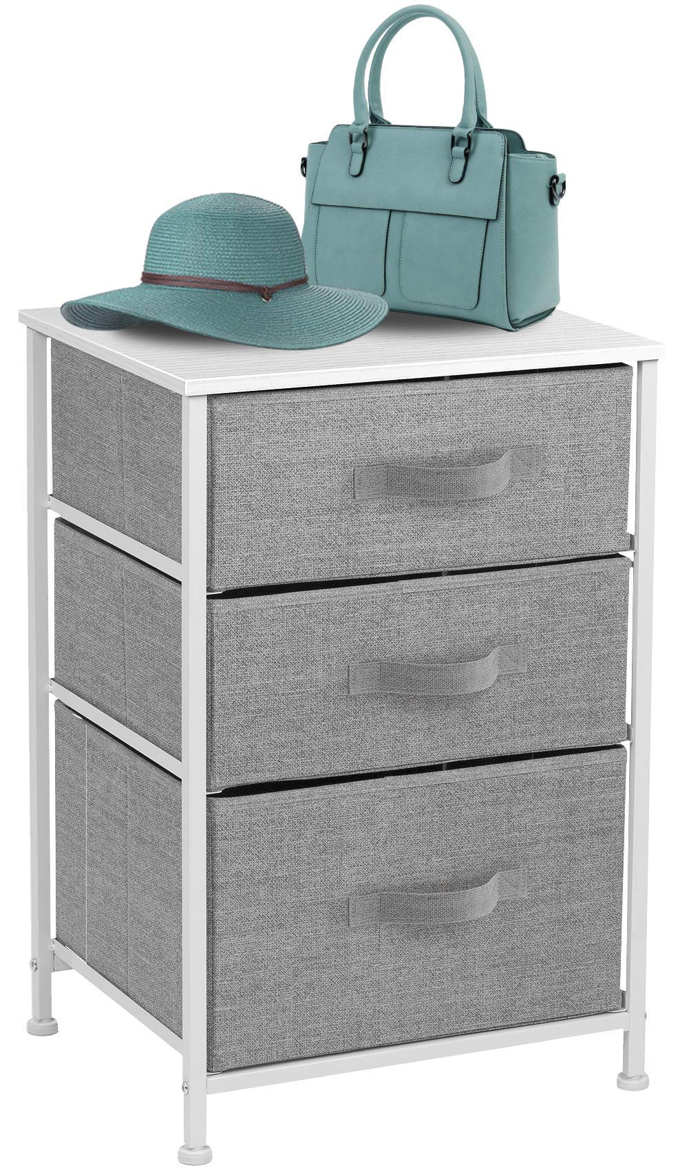 Sorbus Nightstand with 3 Drawers - Bedside Furniture & Accent End Table Chest for Home, Bedroom Accessories, Office, College Dorm, Steel Frame, Wood Top, Easy Pull Fabric Bins (3-Drawer, White/Gray)