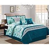"Classic 7-piece Embroidered Dark Teal/Green/Light Blue Floral Bedding Comforter Set (90"" x 90"" Queen)"