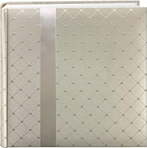 "Pioneer DA200FDR Fabric Diamond Ribbon Wedding Photo Album, Holds 200 4x6"" Photos, 2 Per Page Color May Vary"