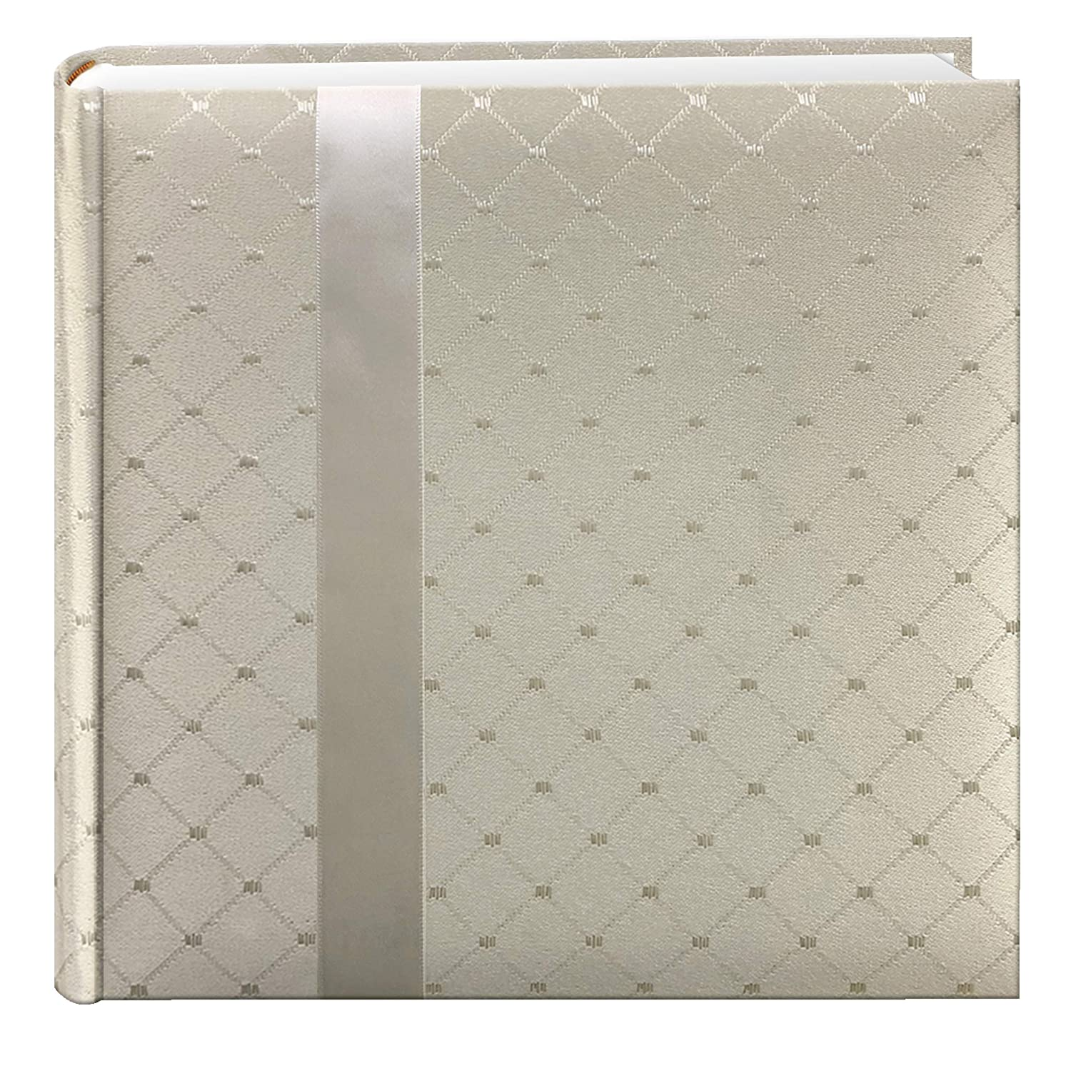 Pioneer Photo Albums 200 Pocket Ivory Diamond Fabric Photo Album with Ribbon Trim for 4 by 6-Inch Prints DA-200FDR