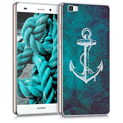 53671f510a5 kwmobile Funda para Huawei P8 Lite (2015) - forro de TPU silicona cover protector  para móvil - Case Diseño ancla mapa blanco azul