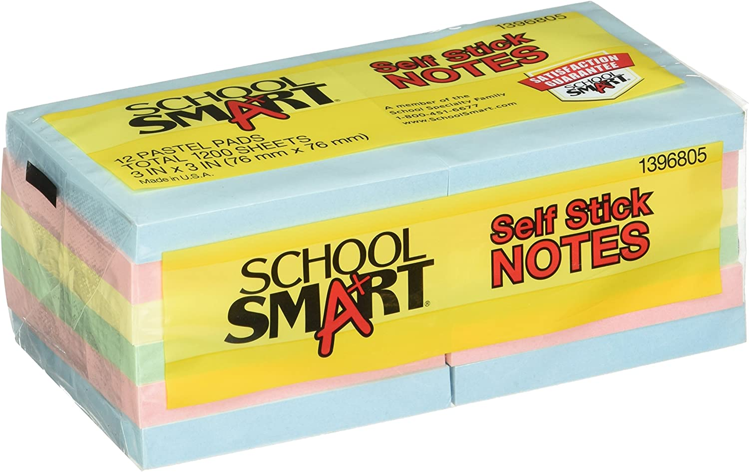Assorted Colors School Smart Self-Stick Note 100 Sheets per Pad Pack of 12