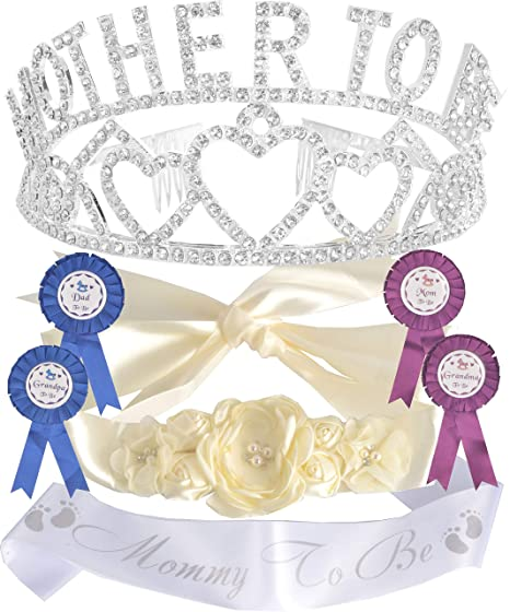Amazon.com: Mother To Be Tiara Hearts Crown Silver + ...