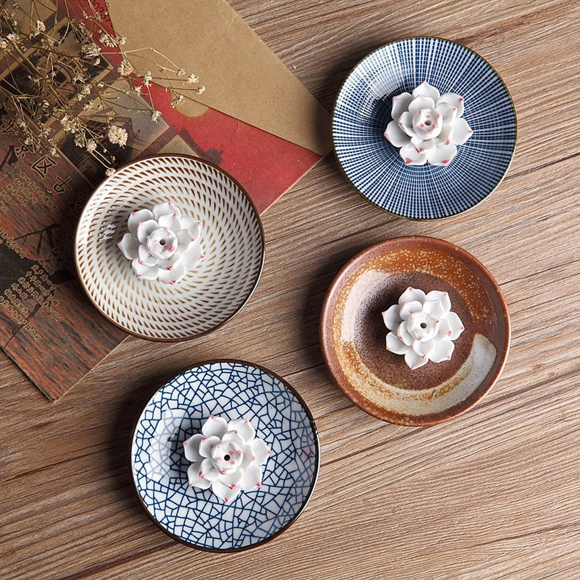 Set of 4 pack Japanese Zen Style Dinnerware Plate Dipping Sauce Dishes, for Appetizer, Dessert, Salad, Snack, Sushi, Fruit, Bread (3.8'')