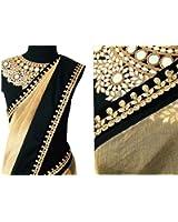 OrangeSell designer cream and black best quality sarees best designer fancy bollywood party wear wedding saree at best price premium quality sari