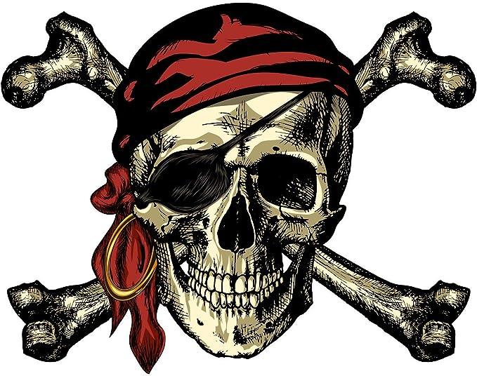 Personalised pirate skull and bones room door Wall Stickers Vinyl Art Decals