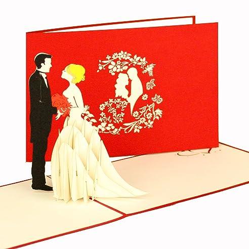 3D Hochzeitskarte   Einladungskarte Hochzeit U0026quot;Wedding Coupleu0026quot;    Pop Up Karten Hochzeit