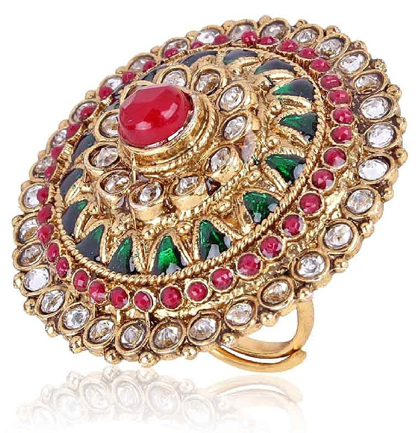 Buy Shining Diva Multicolor Gold Plated Ring For Women Online at ...