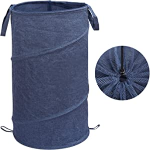 Ezprotekt 72L Foldable Laundry Basket Collapsible Laundry Hamper with Handles for Dirty Clothes Storage Baskets, Upgrade Built-in Lining with Spring, Easy Carry Folding Collapse Hamper, Blue