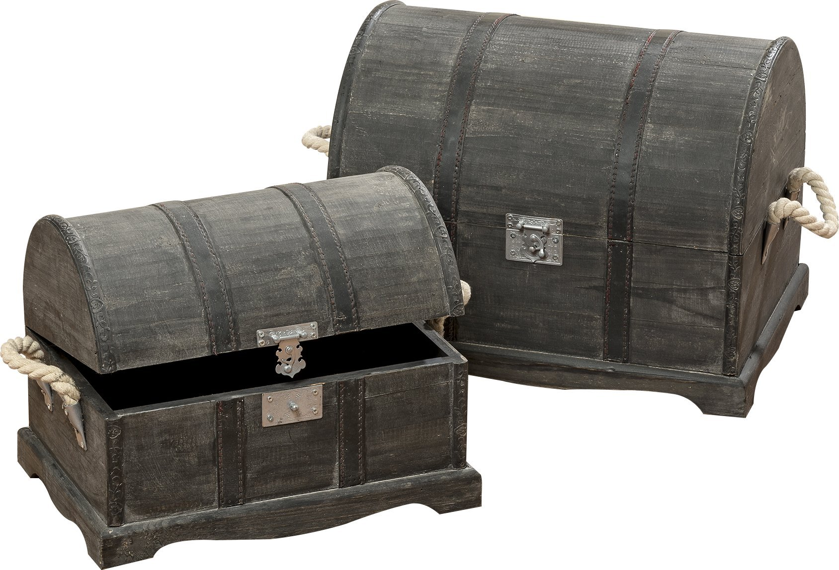 The Cape Cod Treasure Chests, Set of 2, Trunks, Storage Boxes, Faux Leather Straps, Hinged Top, Nautical White Rope Side Handles, Silver Flip Latch, Dark Gray Wood, Both Over 1 Ft Long WHW