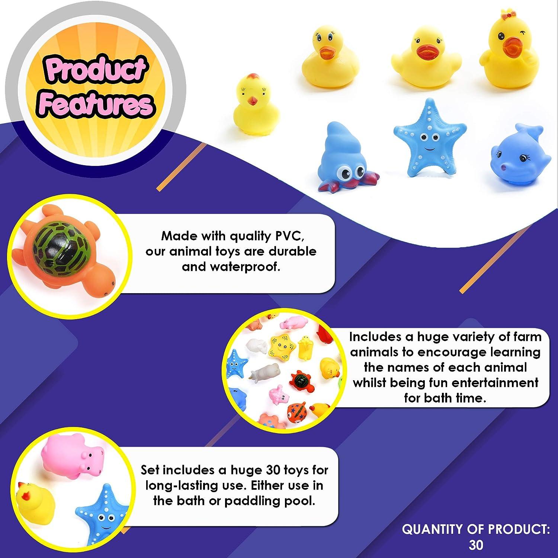 en la piscina o para jugar en seco Incluye una gran variedad de juguetes. Conjunto de 30 Animales de Granja flotantes de Colores Brillantes Ideal para la diversi/ón del ba/ño