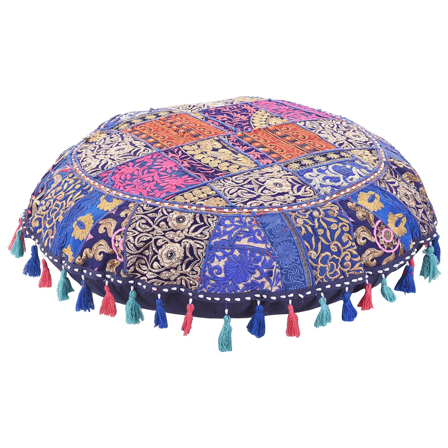 MyCrafts Decorative Throw Vintage Pouf Cover Round Pillow Cover, Handmade Cotton Ottoman Patchwork Foot Stool- Floor Cushion Decor,Embroidered Chair Cover, Decorative Throw Cotton Foot Stool 22'' FPS00005