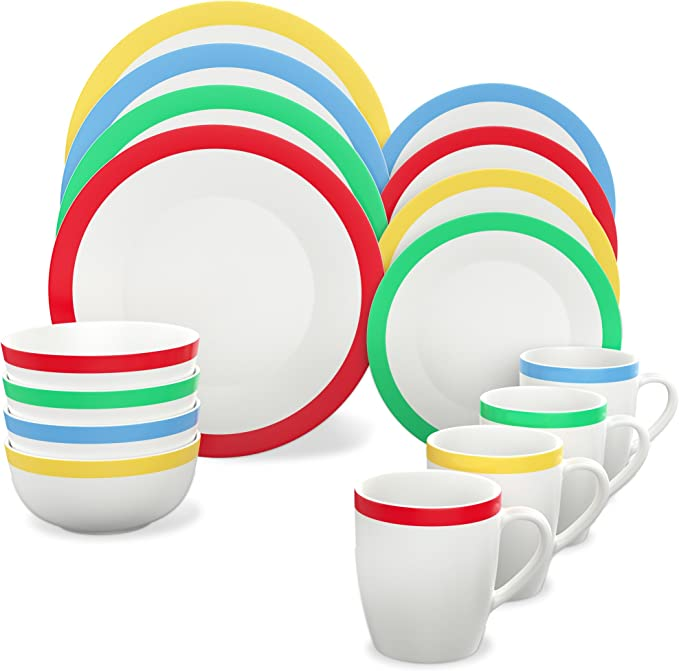 Vremi 16 Piece Dinnerware Set Service For 4 Round Porcelain Dinner Plates Bowls Mugs And Dessert Dishes Casual White Dinnerware With Colored Stripe Trim Microwave And Dishwasher Safe Kitchen Dining Amazon Com