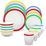 Vremi 16 Piece Dinnerware Set for 4 - Round Porcelain Dinner Plates Bowls Mugs and Dessert Dishes - Casual White Dinnerware with Modern Multi Color Stripe Trim - Microwave and Dishwasher Safe