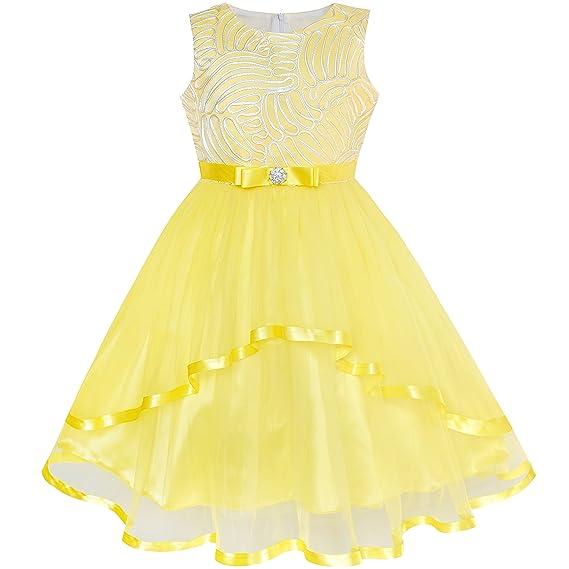 Sunny Fashion Vestido Para Niña Flor Azul Ceñido Boda Fiesta Dama De Honor 4 12 Años
